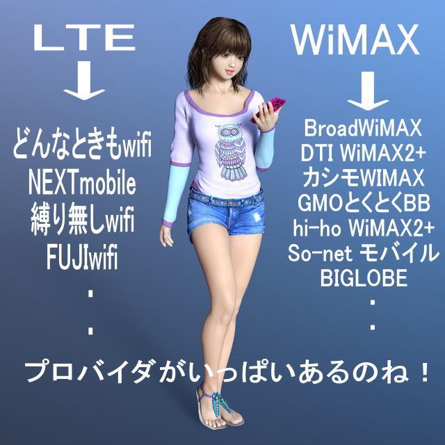 WiMAXとLTEが主な通信回線で、プロバイダがいっぱいある