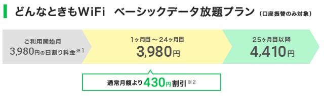 口座振替の場合は、3980円で、これより高くなってしまいます。